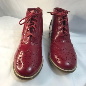 Topshop red patent leather boots